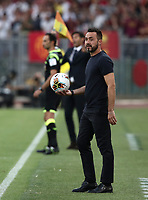 Football, Serie A: AS Roma - Sassuolo, Olympic stadium, Rome, September 15, 2019. <br /> Sassuolo's coach Roberto De Zerbi looks on during the Italian Serie A football match between Roma and Sassuolo at Olympic stadium in Rome, on September 15, 2019.<br /> UPDATE IMAGES PRESS/Isabella Bonotto