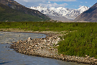 The big delta river flows through the Alaska Range mountains, Interior, Alaska.