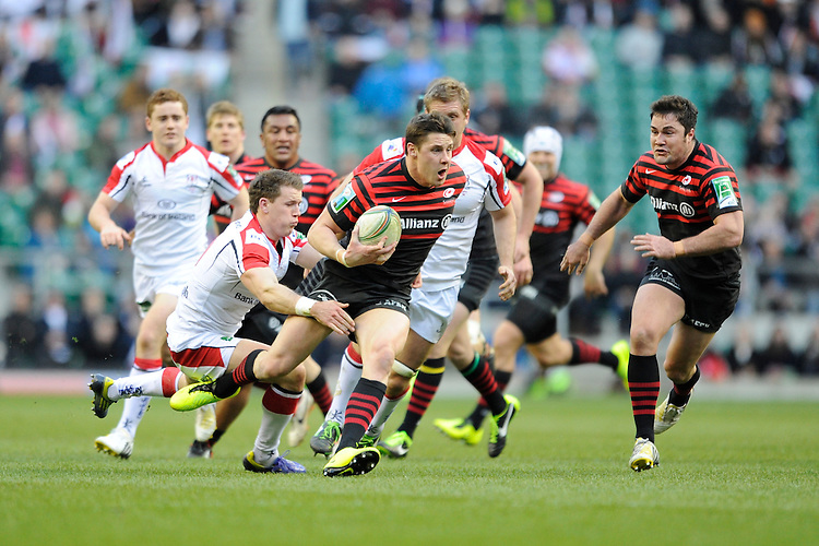 Joel Tomkins of Saracens in action during the Heineken Cup quarter final match between Saracens and Ulster Rugby at Twickenham Stadium on Saturday 6th April 2013 (Photo by Rob Munro)