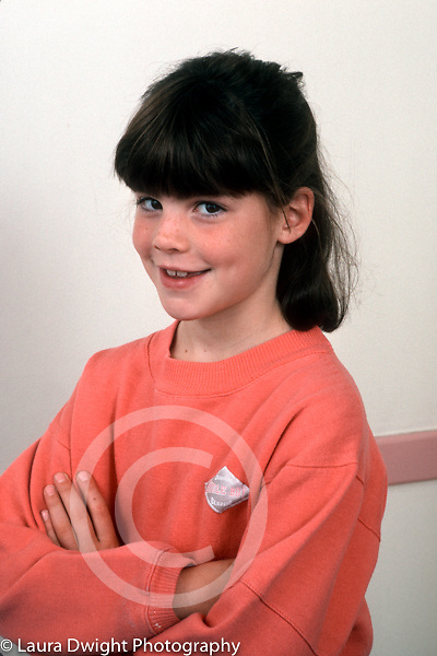 8 year old girl portrait closeup vertical Caucasian