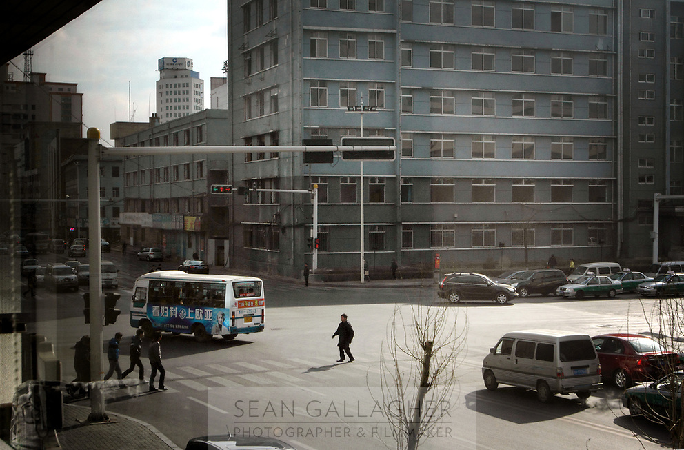 China. Jilin Province. Streetscene in the town of Yanji, close to the border with North Korea. The town is part of the Korean Autonomous Prefecture in the north-east of the country. 2011