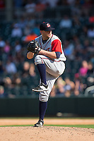 Gwinnett Braves relief pitcher Brandon Cunniff (50) in action against the Charlotte Knights at BB&T BallPark on May 22, 2016 in Charlotte, North Carolina.  The Knights defeated the Braves 9-8 in 11 innings.  (Brian Westerholt/Four Seam Images)