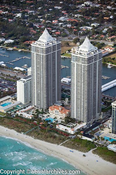 aerial photograph Blue and Green Diamond towers Miami Beach Florida