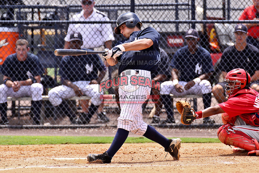 August 25, 2009: Catcher J.R. Murphy of the GCL Yankees at bat during a game at Yankees Training Complex in Tampa, FL.  Heathcott was selected in the 1st round (29th overall) of the 2009 MLB Draft.  The GCL Yankees are the Gulf Coast Rookie League affiliate of the New York Yankees.  Photo By Mark LoMoglio/Four Seam Images