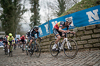 Belgian National Champion Dries De Bondt (BEL/Alpecin-Fenix) up the Kapelmuur / Muur van Geraardsbergen<br /> <br /> 76th Omloop Het Nieuwsblad 2021<br /> ME(1.UWT)<br /> 1 day race from Ghent to Ninove (BEL): 200km<br /> <br /> ©kramon