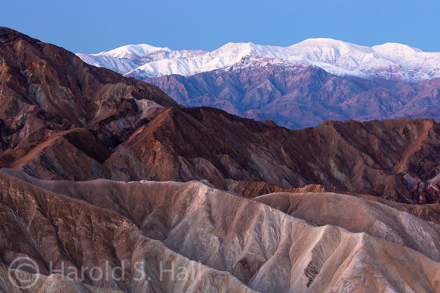 Zabrisky Point in Death Valley shows the many hues of the arid hills in the minutes before the sun rises.