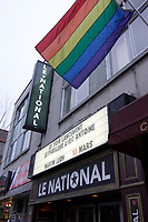 Montreal (Quebec) CANADA - Feb 16 2009-  rainbow flag <br /> Outside LE NATIONAL where<br /> Quebec artist Antoine Gratton launch his new album, February 16 2008.