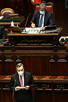 The Italian premier Mario Draghi and the President of the Lower Chamber Roberto Fico during the information at the Chamber of Deputies before sending to the European Commission his economy plan of recovery and resilience.<br /> Rome (Italy), April 26th 2021<br /> Photo Samantha Zucchi Insidefoto