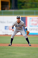 West Michigan Whitecaps second baseman Cameron Warner (4) during the first game of a doubleheader against the Lake County Captains on August 6, 2017 at Classic Park in Eastlake, Ohio.  Lake County defeated West Michigan 4-0.  (Mike Janes/Four Seam Images)