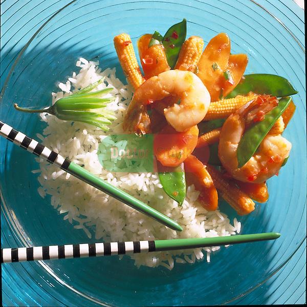 shrimp and snow peas stir-fry