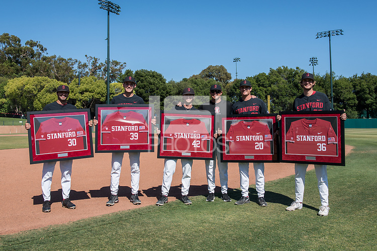 STANFORD, CA - MAY 29: Zach Grech, Jacob Palisch, Austin Weiermiller, Thomas Eager, Brendan Beck. Jonathan Worley after a game between Oregon State University and Stanford Baseball at Sunken Diamond on May 29, 2021 in Stanford, California.