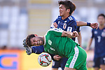 Kitagawa Koya of Japan (R) competes for the ball with Ylyasov Vezirgeldi of Turkmenistan (L) during the AFC Asian Cup UAE 2019 Group F match between Japan (JPN) and Turkmenistan (TKM) at Al Nahyan Stadium on 09 January 2019 in Abu Dhabi, United Arab Emirates. Photo by Marcio Rodrigo Machado / Power Sport Images