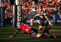 George Bridge scores during the 2020 Super Rugby match between the Crusaders and Highlanders at Orangetheory Stadium in Christchurch, New Zealand on Saturday, 9 August 2020. Photo: Joe Johnson / lintottphoto.co.nz