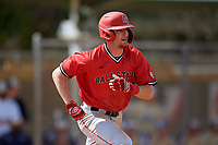 Ball State Cardinals shortstop Ryan Peltier (7) runs to first base during a game against the Mount St. Mary's Mountaineers on March 9, 2019 at North Charlotte Regional Park in Port Charlotte, Florida.  Ball State defeated Mount St. Mary's 12-9.  (Mike Janes/Four Seam Images)