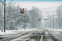Roads covered with snow, New Jersey, USA