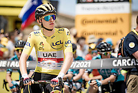 yellow jersey / GC leader Tadej Pogacar (SVN/UAE-Emirates) at the stage start in Carcassonne<br /> <br /> Stage 14 from Carcassonne to Quillan (184km)<br /> 108th Tour de France 2021 (2.UWT)<br /> <br /> ©kramon