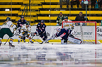 9 February 2020: University of Vermont Catamount Forward Ève-Audrey Picard, a Senior from Longueuil, Québec, is unable to score on University of Connecticut Husky Goaltender Morgan Fisher in first period action at Gutterson Fieldhouse in Burlington, Vermont. The Lady Cats defeated the Huskies 6-2 in the second game of their weekend Hockey East series. Mandatory Credit: Ed Wolfstein Photo *** RAW (NEF) Image File Available ***