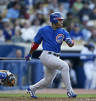 Roosevelt Brown of the Chicago Cubs bats during a 2002 MLB season game against the Los Angeles Dodgers at Dodger Stadium, in Los Angeles, California. (Larry Goren/Four Seam Images)