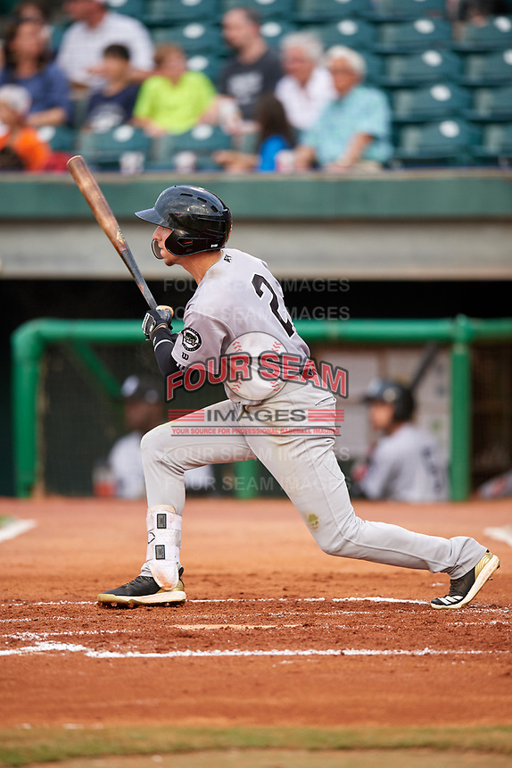Jackson Generals shortstop Galli Cribbs (2) follows through on a swing hits a single, but is thrown out trying to stretch it into a double, during a game against the Chattanooga Lookouts on May 9, 2018 at AT&T Field in Chattanooga, Tennessee.  Chattanooga defeated Jackson 4-2.  (Mike Janes/Four Seam Images)