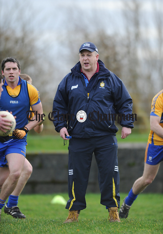 Clare manager Michéal Mc Dermott in the warm up before their Mc Grath Cup match against UL at Doonbeg. Photograph by John Kelly.