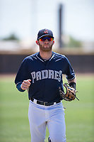 AZL Padres 1 left fielder Tyler Benson (30) jogs off the field between innings of an Arizona League game against the AZL Royals at Peoria Sports Complex on July 4, 2018 in Peoria, Arizona. The AZL Royals defeated the AZL Padres 1 5-4. (Zachary Lucy/Four Seam Images)