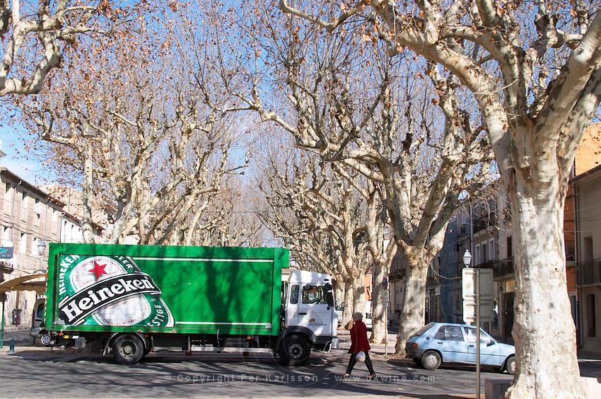 Montagnac. Heineken. Languedoc. Truck with promotional advertising. France. Europe.