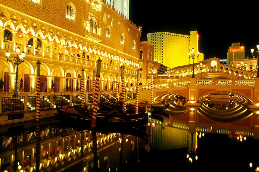 Las Vegas, NV, casino, Nevada, The Strip, The Venetian Casino Resort replica of Venice, Italy on The Strip at night in Las Vegas, the Entertainment Capital of the World.