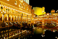 Las Vegas, NV, casino, Nevada, The Strip, The Venetian Casino Resort replica of Venice, Italy on The Strip at night in Las Vegas, the Entertainment Capital of the World.