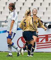 Lindsay Tarpley and Amy Rodriguez of the USA and Jessica Julin of Finland. The U.S. defeated Finland, 4-1 during the Four Nations Tournament in  Guangzhou, China on January 18, 2008.