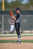 Shane Huntsberger (17) during the WWBA World Championship at JetBlue Park on October 10, 2020 in Fort Myers, Florida.  Shane Huntsberger, a resident of Coral Springs, Florida who attends North Broward Preparatory School, is committed to Western Carolina.  (Mike Janes/Four Seam Images)