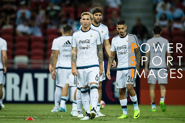 Lucas Biglia of Argentina (C) warming up during the International Test match between Argentina and Singapore at National Stadium on June 13, 2017 in Singapore. Photo by Marcio Rodrigo Machado / Power Sport Images