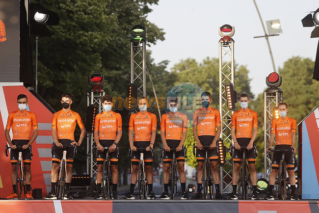 Euskaltel-Euskadi on stage at the Team Presentation before La Vuelta d'Espana 2021 held in Burgos city centre, Spain. 12th August 2021.    <br /> Picture: Luis Angel Gomez/Photogomezsport | Cyclefile<br /> <br /> All photos usage must carry mandatory copyright credit (© Cyclefile | Luis Angel Gomez/Photogomezsport)