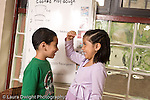Education preschoool children ages 3-5 boy and girl measuring their heights against each other horizontal pictorial receipe poster for play dough behind them