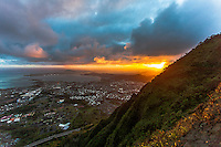 "An aerial view of the sunrise from the Haiku Stairs (""Stairway to Heaven"") hiking trail in Kaneohe, O'ahu"