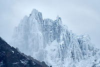 Cuernas Paine Mountains. with fresh snow. Torres del Paine National Park, Chile, Patagonia