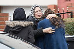 © Joel Goodman - 07973 332324 . 03/01/2017. Huddersfield, UK. People outside the home of 27-year-old Mohammed Yassar Yaqub , reported to be the man killed by police at the slip road at Junction 24 of the M62 motorway in Huddersfield . West Yorkshire police have announced a man has died following the discharge of a police firearm , during what they describe as a pre-planned operation , yesterday evening (2nd January 2017) . Photo credit : Joel Goodman