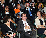 Houston Independent School District Superintendent Terry Grier, center, and members of the HISD team react after learning their district won the 2013 Broad Prize for Urban Education, Wednesday, Sept. 25, 2013, at the Library of Congress in Washington, D.C. Looking on, front left, is San Diego Unified School District Superintendent Cindy Marten.  As the winner of the award that recognizes the public school district making the greatest performance and improvement gains in student achievement, Houston will receive $550,000 in college scholarships for its high school seniors. The three other finalists—Corona-Norco Unified School District in California, Cumberland County Schools in North Carolina, and the San Diego Unified School District —will each receive $150,000 in college scholarships. (Photo by Diane Bondareff/Invision for The Broad Foundation/AP Images)