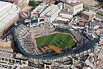"""Aerial view of Comerica Park taken from on board the Akron, Ohio based """"Spirit of Goodyear"""" airship on Monday, July 11, 2005 before the start of the 2005 Major League Baseball All-Stars Home-run Derby. (AP Photo/Tony Ding)."""