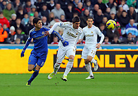 Saturday, 03 November 2012<br /> Pictured: <br /> Re: Barclays Premier League, Swansea City FC v Chelsea at the Liberty Stadium, south Wales.<br /> Pablo Hernandez of Swansea (R) against Oscar of Chelsea (L)