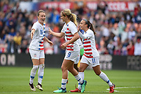 Houston, TX - Sunday April 8, 2018: Lindsey Horan scores a goal and celebrates during an International friendly match versus the women's National teams of the United States (USA) and Mexico (MEX) at BBVA Compass Stadium.
