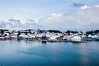 Waterfront homes along the coast of Bermuda.