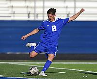NWA Democrat-Gazette/CHARLIE KAIJO Rogers High School Maynor Sandoval (8) kicks the ball during a soccer game, Friday, April 26, 2019 at  Whitey Smith Stadium at Rogers High School in Rogers.