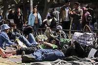 Pictured: Dozens of migrants sleep on the ground in Victoria Square, Athens Monday 29 February 2016<br /> Re: Hundreds of migrants have been living in Victoria Square in central Athens Greece
