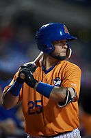 St. Lucie Mets catcher Ali Sanchez (25) on deck during a game against the Daytona Tortugas on August 3, 2018 at First Data Field in Port St. Lucie, Florida.  Daytona defeated St. Lucie 3-2.  (Mike Janes/Four Seam Images)