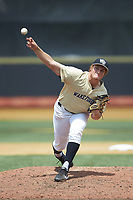 Wake Forest Demon Deacons pitcher Colin Peluse (8) delivers a pitch to the plate against the Virginia Cavaliers at David F. Couch Ballpark on May 19, 2018 in  Winston-Salem, North Carolina.  The Demon Deacons defeated the Cavaliers 18-12.  (Brian Westerholt/Four Seam Images)