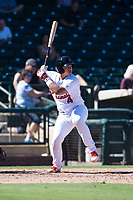 Surprise Saguaros catcher Jeremy Martinez (4), of the St. Louis Cardinals organization, at bat during an Arizona Fall League game against the Salt River Rafters on October 9, 2018 at Surprise Stadium in Surprise, Arizona. Salt River defeated Surprise 10-8. (Zachary Lucy/Four Seam Images)