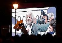 """Il leader del MoVimento 5 Stelle Beppe Grillo chiude la campagna elettorale per le elezioni politiche nazionali e regionali del Lazio con l'ultima tappa dello """"Tsunami Tour"""" in piazza San Giovanni a Roma, 23 febbraio 2013..Italian blogger and comedian Beppe Grillo, leader of the 5 Stars Movement is seen on a giant screen as he speaks during the electoral campaign closing meeting in Rome, 23 February 2013. Political and local elections are scheduled in Italy for next 24 and 25 February..UPDATE IMAGES PRESS/Riccardo De Luca"""