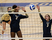 Trinity Luckett (5) of Bentonville West hits the ball across the net against Rogers at Rogers High School, Rogers, AR, on Thursday, September 9, 2021 / Special to NWADG David Beach