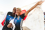 MOREIRA Ozu and GOTO Takasuke of Japan celebrate after winning the Beach Soccer Men's Team Gold Medal Match between Japan and Oman on Day Nine of the 5th Asian Beach Games 2016 at Bien Dong Park on 02 October 2016, in Danang, Vietnam. Photo by Marcio Machado / Power Sport Images