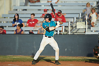 Davis Turner (21) (Lenoir Rhyne) of the Mooresville Spinners at bat against the Lake Norman Copperheads at Moor Park on July 6, 2020 in Mooresville, NC.  The Spinners defeated the Copperheads 3-2. (Brian Westerholt/Four Seam Images)